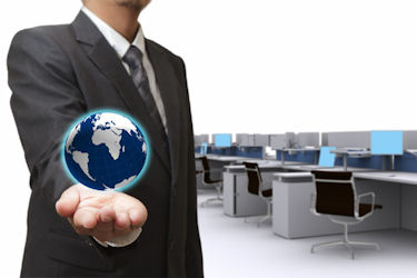Man holding world in hand